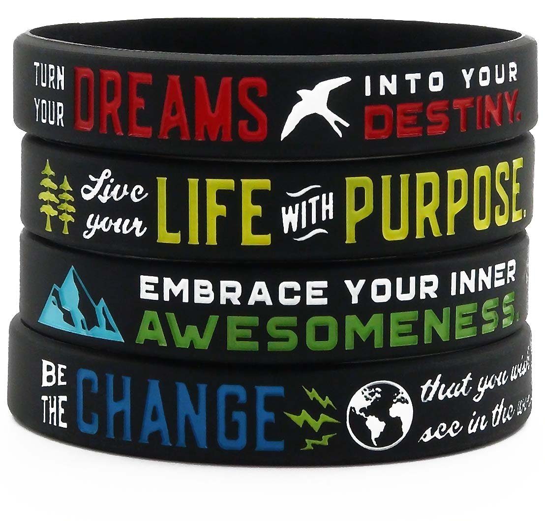Positive Message Bracelets (Set of 4) - Inspirational Motivational Jewelry for Men Women Teens