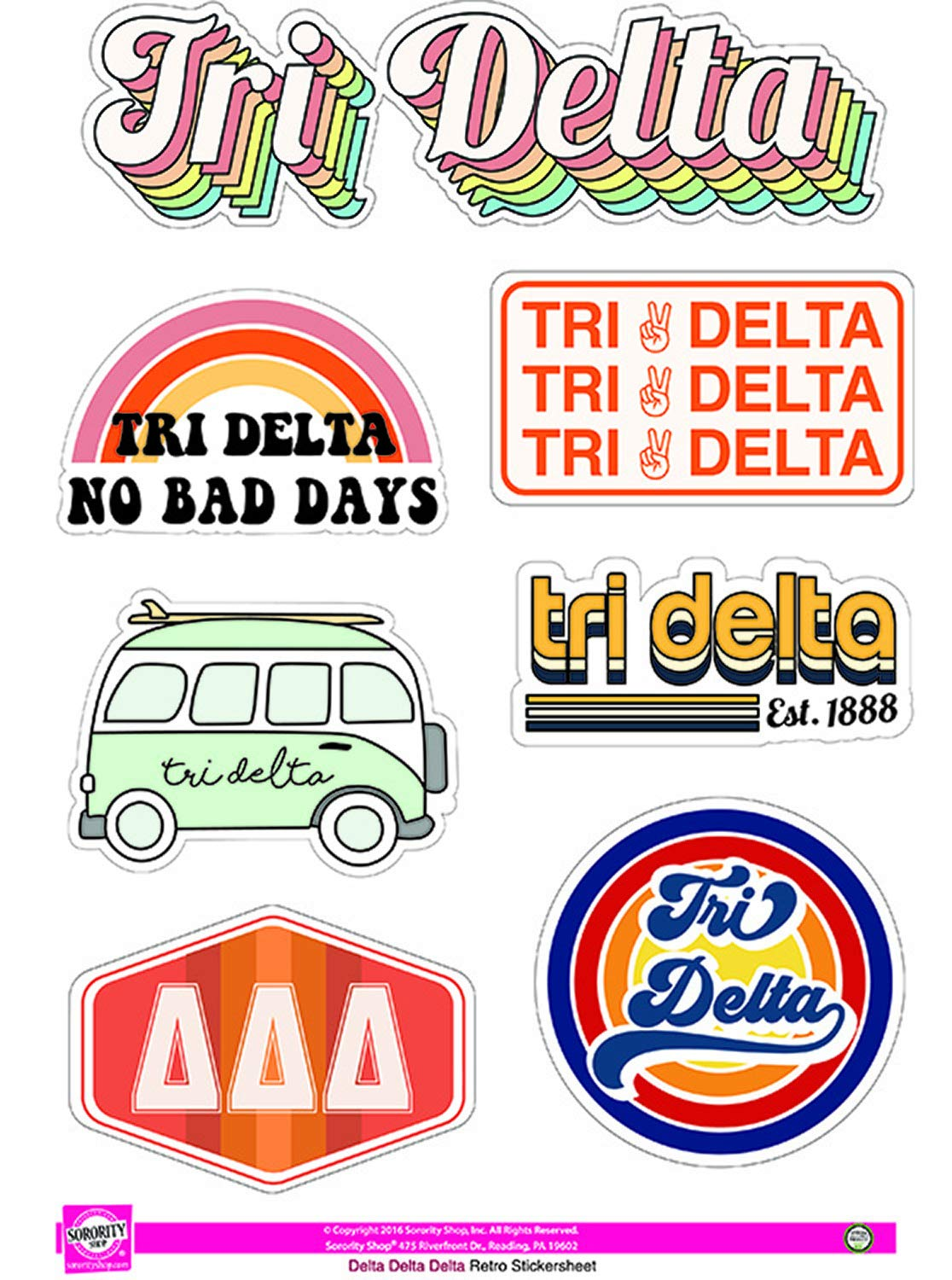 Sticker Sheet Delta Delta Delta Retro Theme