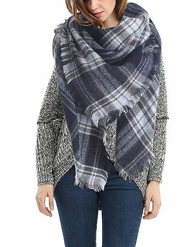 onlymode Abrigo de la bufanda del mantón de la tela escocesa de Cozy Chequeado Mujeres Señora Manta Tartán de gran tamaño
