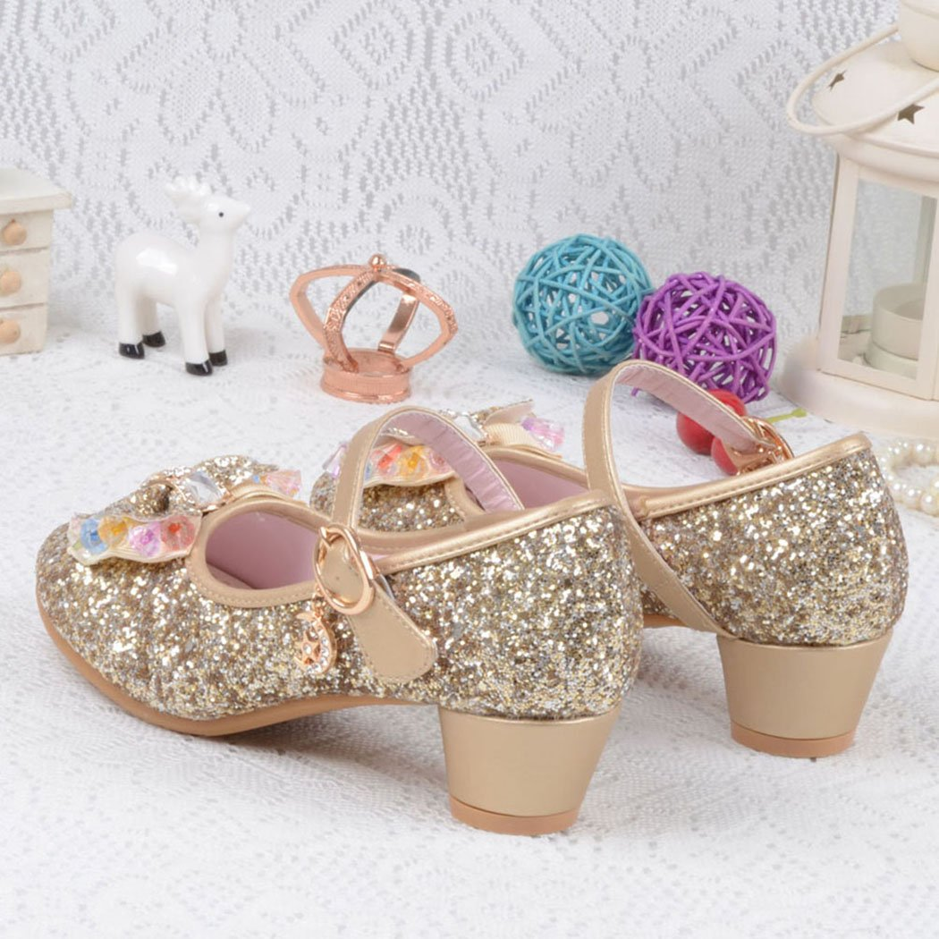 Raylans Girls Glitter Sandals Mary Jane Shoes Glitter Low Heels Princess Cosplay Dress Shoes Golden US 13.5M by Raylans (Image #4)