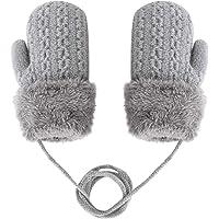 IPENNY - Guantes para niños de 0 a 3 años, guantes de punto de invierno para niños de banda de dibujo doble capa de lana…