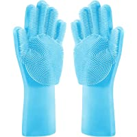 Dish Wash Gloves-Magic Silicone Dishwashing Gloves with Extended Scrubbers   Multipurpose Reusable Dish Wash Glove with…