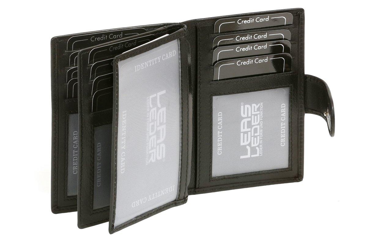 Tarjetero para tarjetas de crédito LEAS, Piel auténtica, negro - LEAS Card-Collection