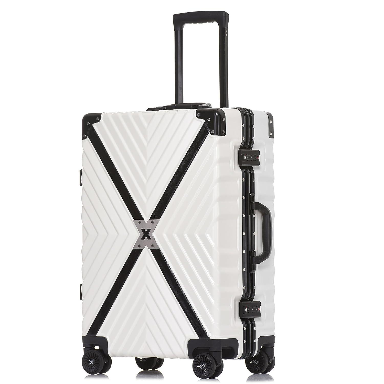 クロース(Kroeus) スーツケース 4輪ダブルキャスター 静音 アルミフレーム 大容量 軽量 人気 キャリーケース 旅行 出張 TSAロック搭載 多段階調節キャリーバー コーナープロテクト B07C2JPMPG 2XL|ホワイト ホワイト 2XL