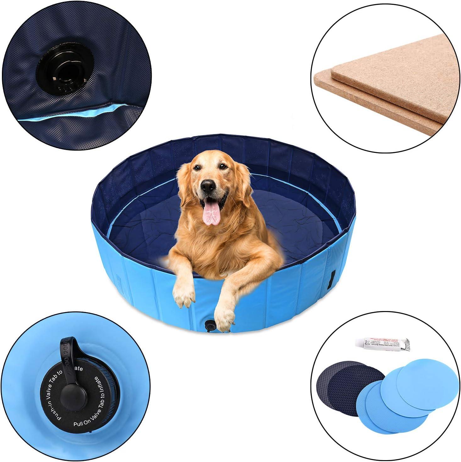 Folding Dog // Cat Bath 120 /× 30cm Foldable Pet Dogs Swimming Pool Puppy Bathing Tub Blue Dia 47 Cats Paddling Doggy Dog 47D x 12H 120cm