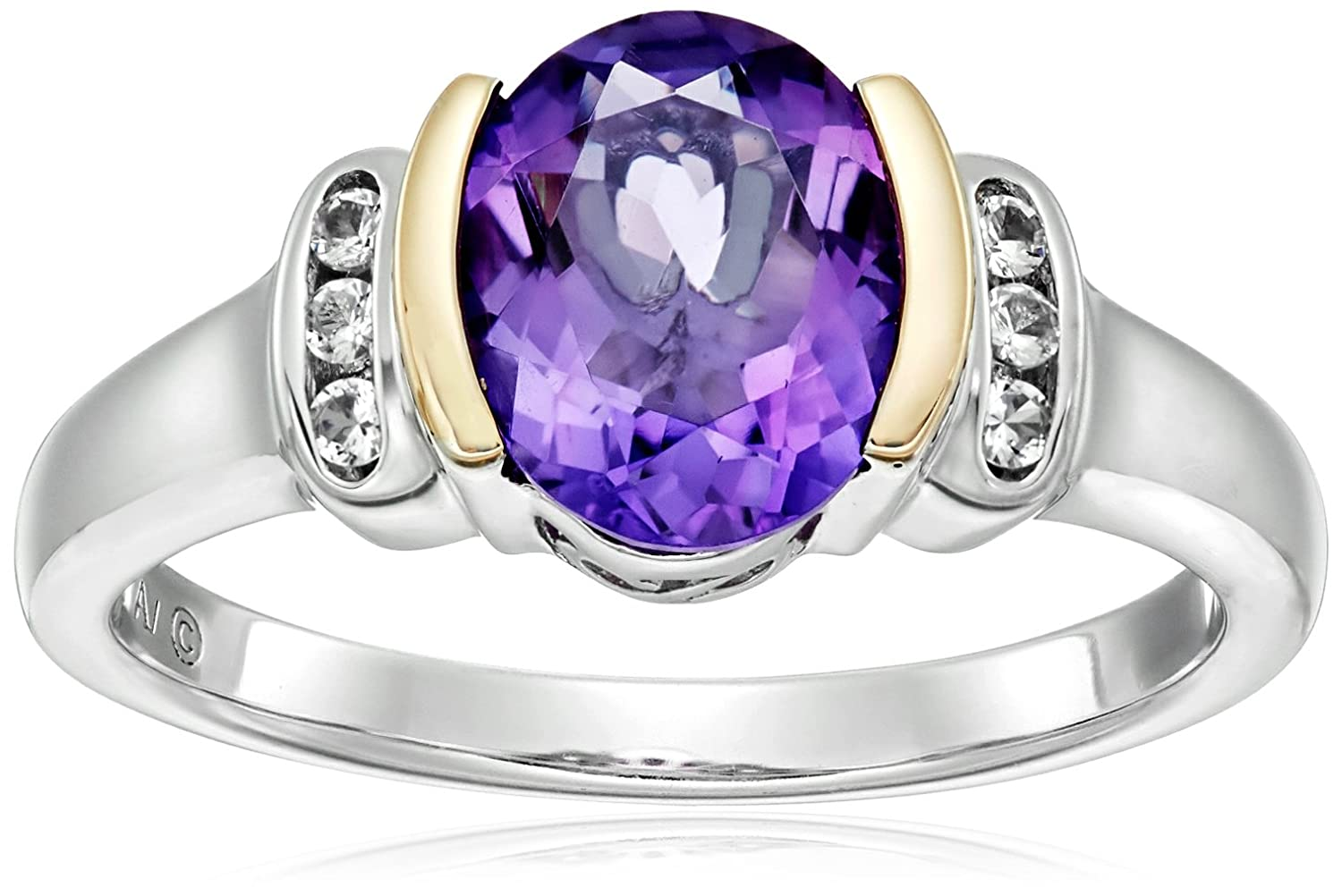 Sterling Silver and 14k Yellow Gold White Topaz and Oval Amethyst Ring Amazon Curated Collection ESZ3713MLWT-PARENT