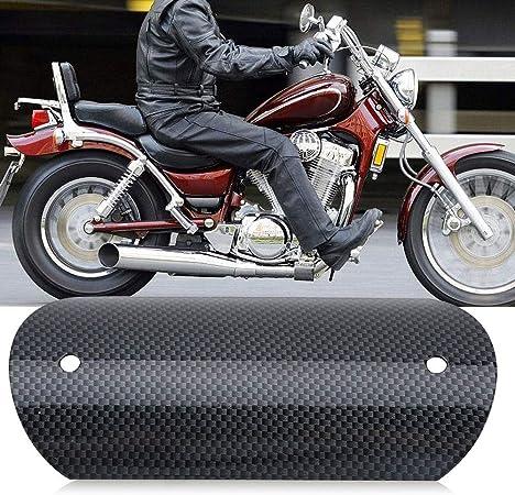 Qiilu W/ärmed/ämmung Abdeckung Motorrad Hitzeschild 3-St/ück Motorrad Auspuffrohr Hitzeschild aus rostfreiem Stahl schwarz