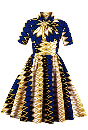 258e49dc0a Womens African Dress Dashiki Print Midi Fit and Flare Short Sleeve Formal A  Line Swing Dresses at Amazon Women s Clothing store