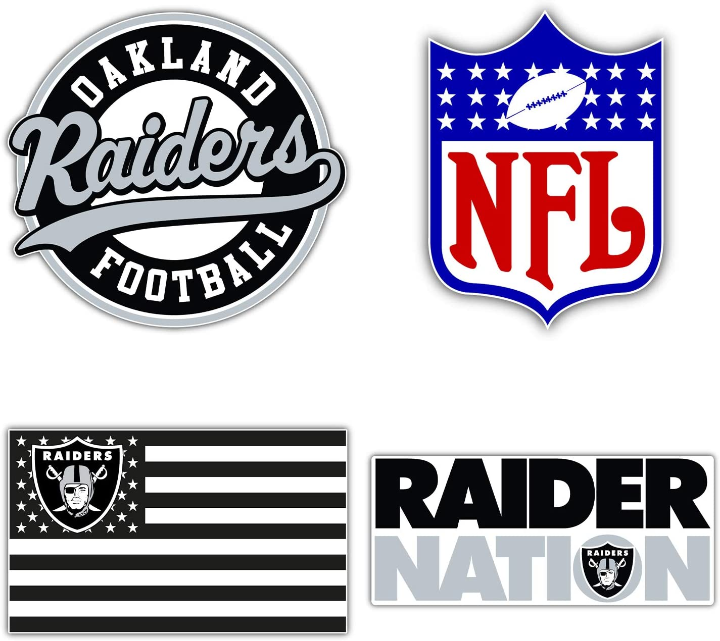 qualityprint Oakland Raiders Set of 4 NFL Football Car Bumper Stickers Decals 5 Longer Side