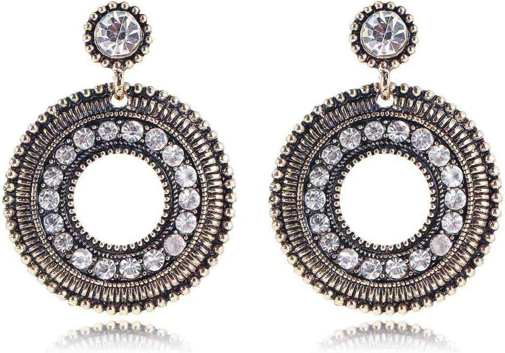 Erin Pendientes De Diamantes De Imitación De Cristal Blanco Pendientes De Oro Antiguo De Moda para Mujer Pendientes Redondos De Piedras Preciosas para Niñas Femeninas E997