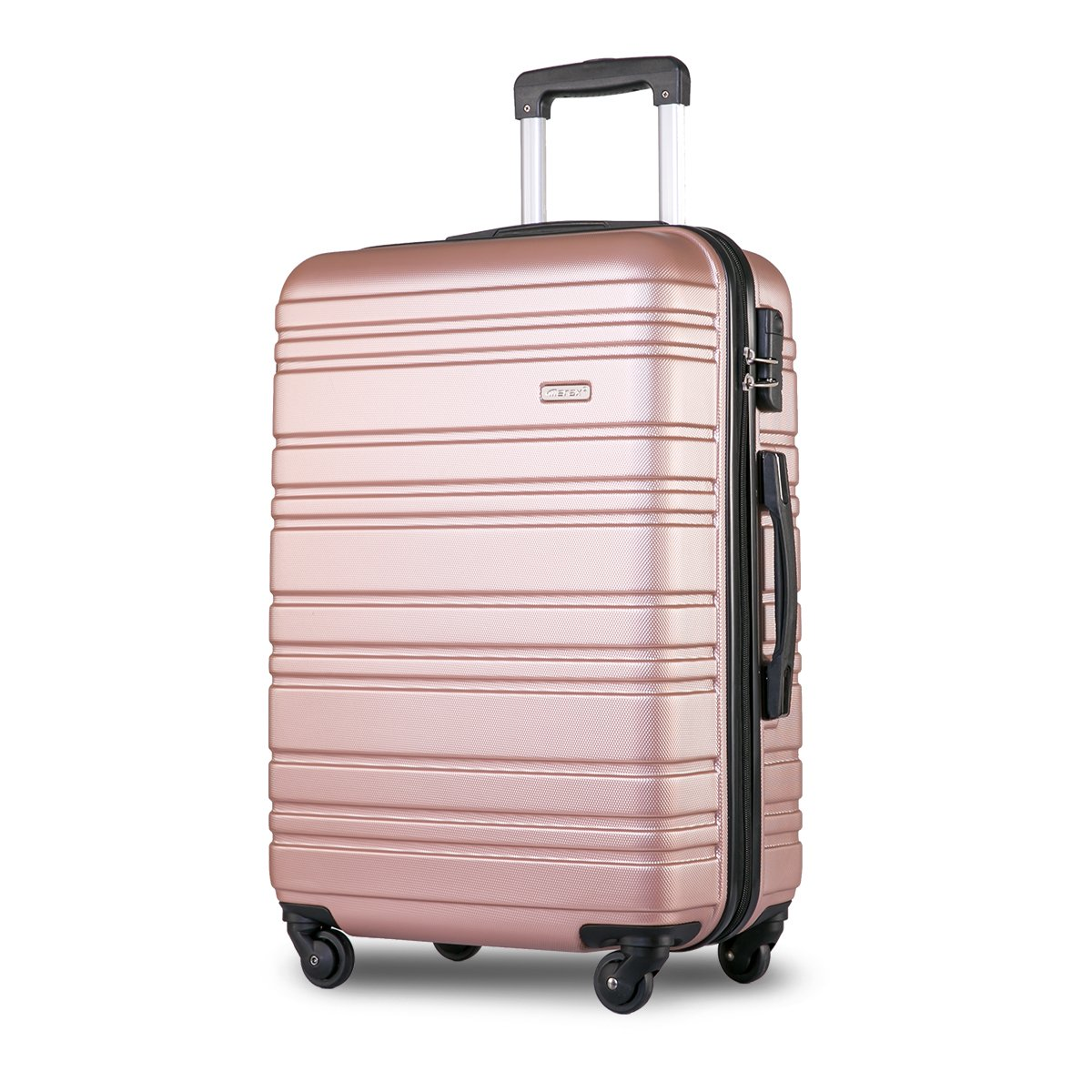 Lightweight Hard Shell 4 Wheels Travel Trolley Suitcase Luggage Set Holdall Cabin Case (20 inches, Rose)