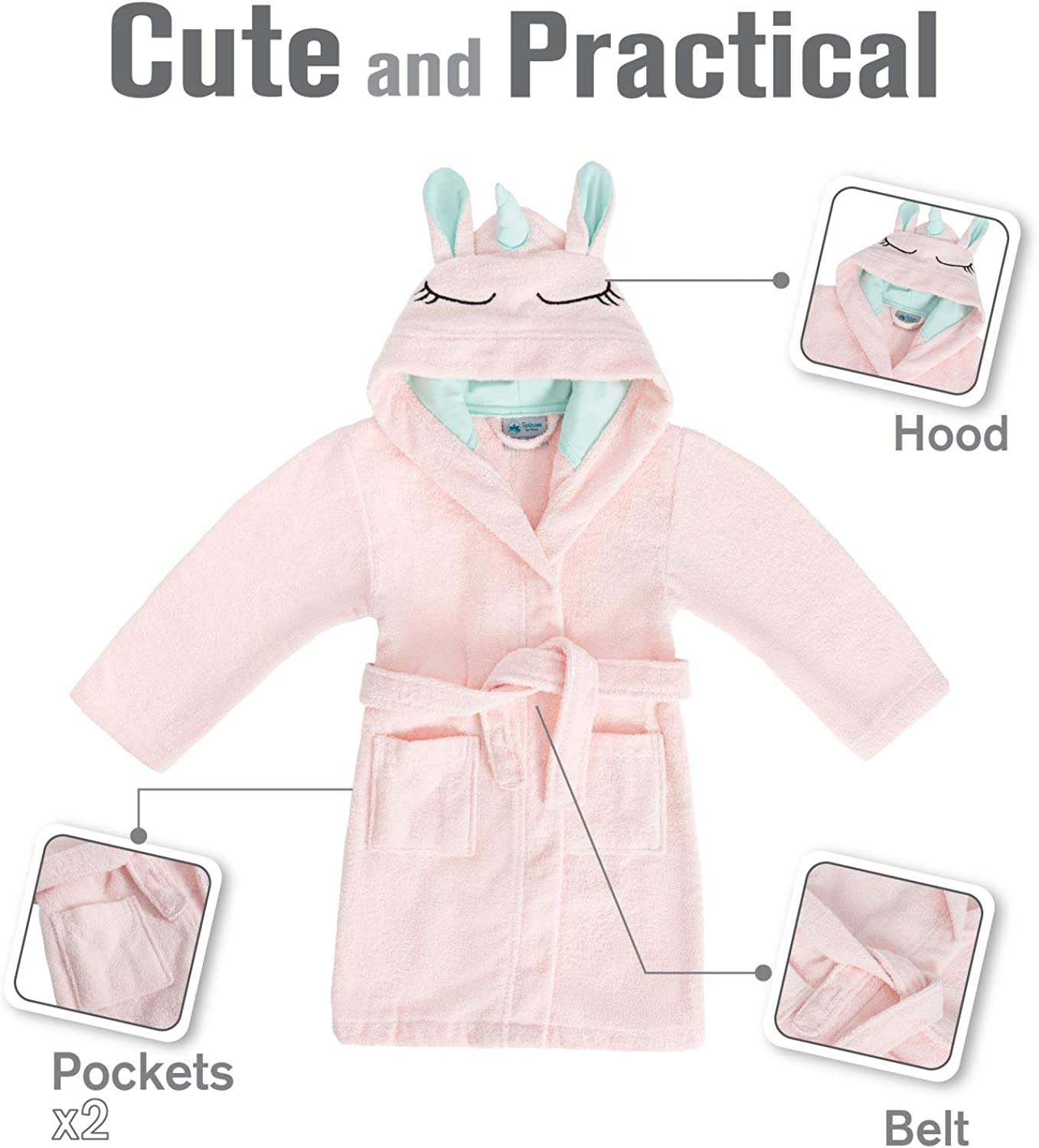 Free from Chemical Products 100/% Cotton Hooded Bathrobes and Dressing Gowns for Children with Unicorns Twinzen Unicorn Kids Dressing Gown Girls and Boys Oeko TEX