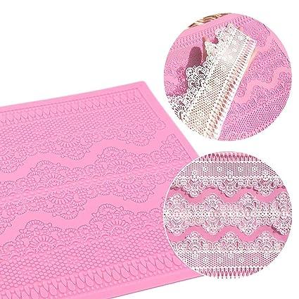 Mbuynow Molde Silicona Fondant Flor de Encaje para Decoración de Tarta,Pastel -Color Rosa