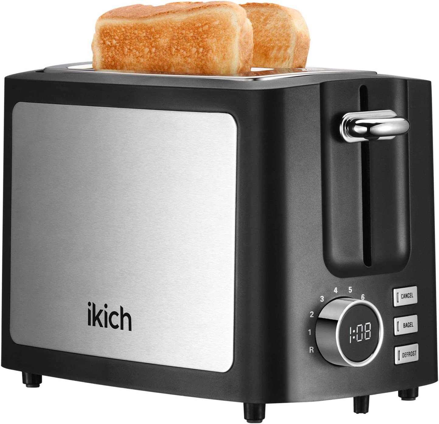 Toaster 2 Slice, IKICH 9 Bread Shade Settings Toasters Oven, Extra Wide Slots, Stainless Steel Toaster for Waffle, Bagel, Homemade Baking(Cancel/Bagel/Defrost/Reheat Function, Removal Crumb Tray)