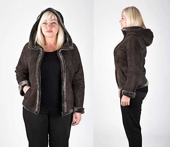 f52535854ee Amazon.com  Plus Size Sheepskin Leather Jacket for Women
