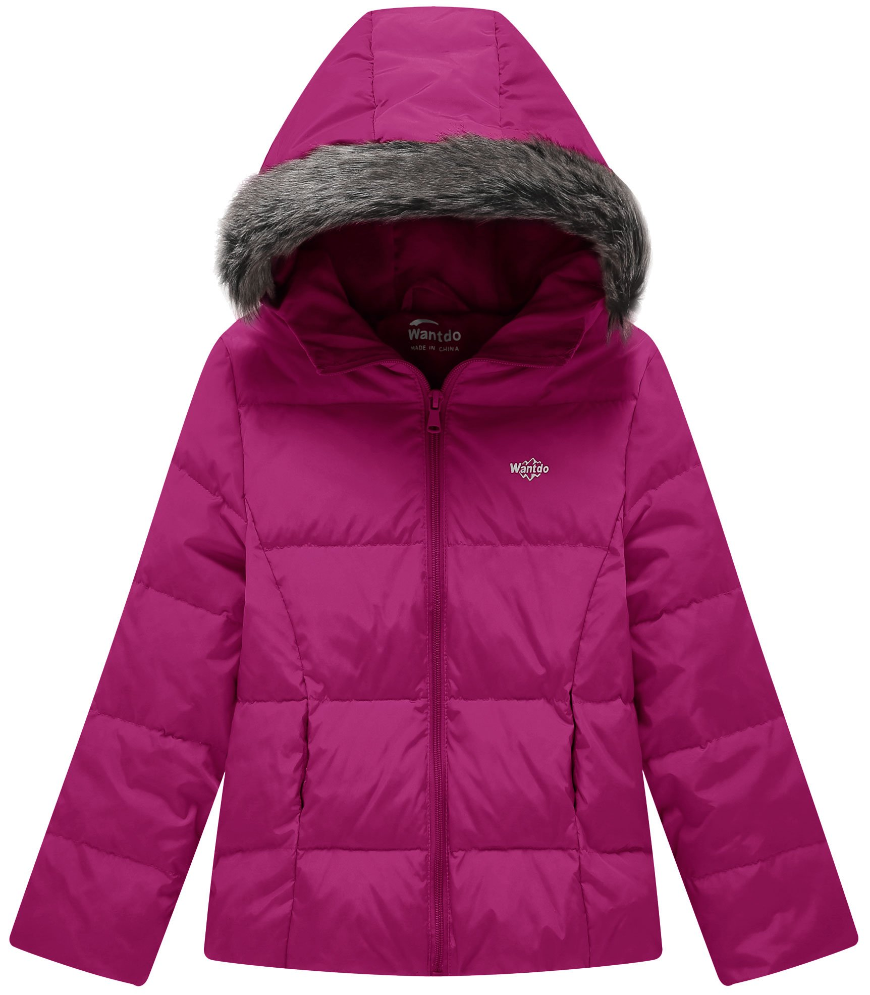 Wantdo Girl's Ultra Light Down Jacket Windproof Hoodies Outwear Short Parka for Camping(Rose Red, 4/5)