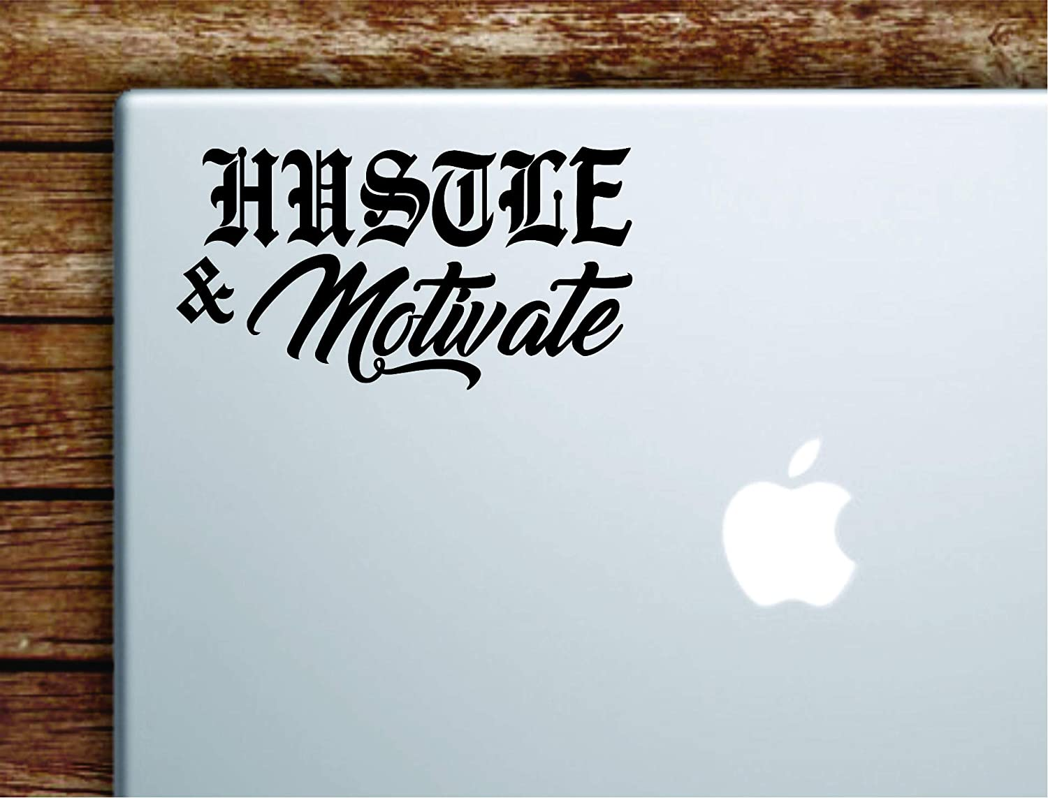 Hustle and Motivate Wall Decal Quote Laptop Computer Car Truck Window Decor Decoration Art Vinyl Sticker Inspirational Grind Inspire Motivational Money Gym Sports Fitness Success Office