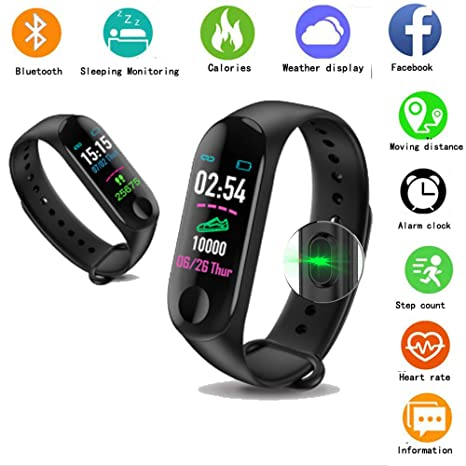 Ondy M3 IP68 Waterproof Smart Bracelet Fitness Watch, Heart Rate Monitor, Message Reminder, Smart Bracelet with Pedometer Compatible with Android iOS ...