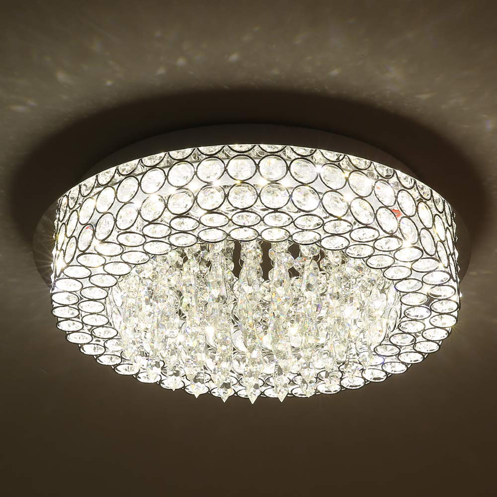 Horisun LED Ceiling Light Crystal Chandelier ETL Listed Dimmable Lighting Flush Mount with Modern Crystal Raindrop Pendant Lamp Apply to Dining Room, Bathroom, Bedroom, Living Room, 5 Years Warranty