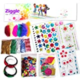 Ziggle Decoration Diy Kit For Kids Teens Buttons Glitter Sand Foam Sticker Gem Stone Feather(Set Of 12)