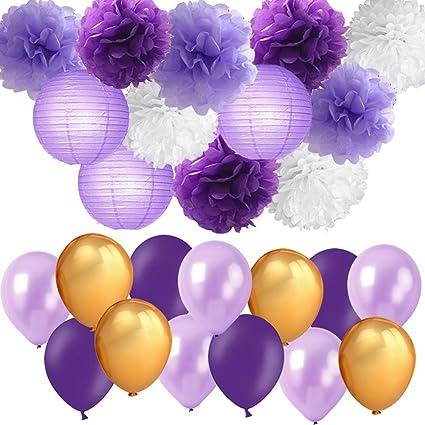 Amazoncom Purple Party Decorations Lavender Purple Gold White Pom