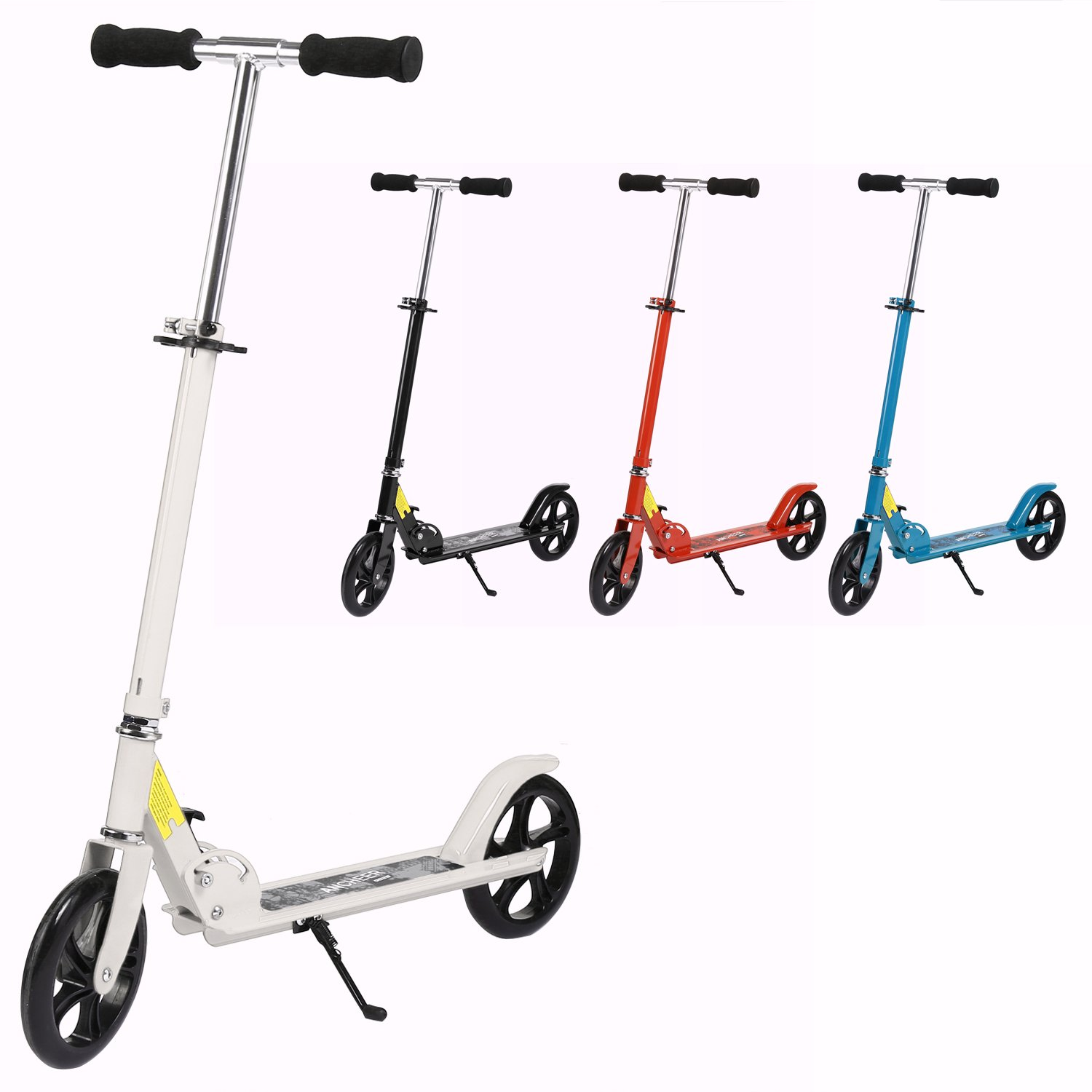 Kick Scooter for Adult Teen Kids Age 12 Up, Adjustable-Height Easy-Folding City Urban Commuter Push Scooter with Big Wheels