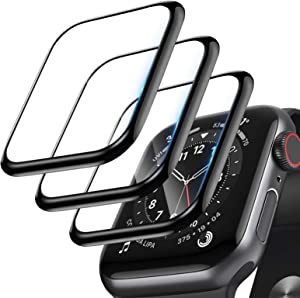 [3 Pack]Screen Protector for Apple Watch Series 3/2/1 38mm, 3D Curved Edge Full Coverage Anti-Scratch Shatter-Proof Waterproof Bubble-Free HD Anti-Fingerprint Protector Film Compatible with iWatch 3/2/1 38mm