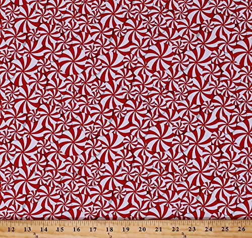 Cotton Peppermints Packed Candy Mints Sweets Confections Red White Peppermint Candies Christmas Reindeer Cotton Fabric Print by The Yard (4156-88)