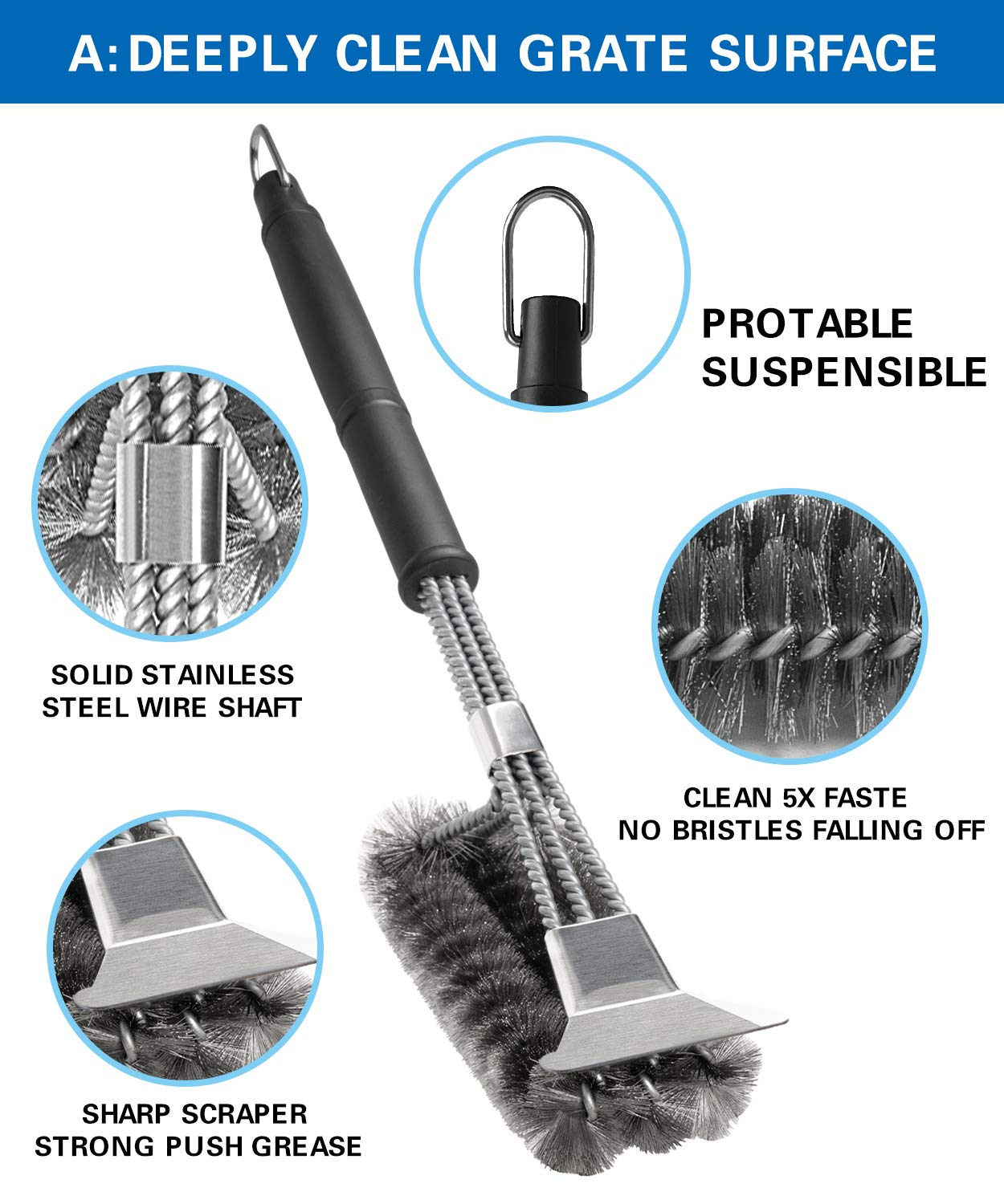 BBQ Grill Brush Set of 2, Safe Grill Cleaning Brush Stainless Steel Bristle Free with Scraper for Porcelain, Cast Iron, Stainless Steel, Ceramic Grill Grate Cooking Grid, 18'' Grill Tools Accessories by GASPRO (Image #4)