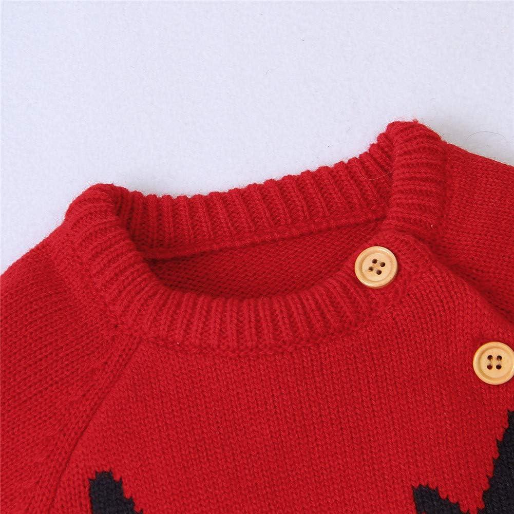 Azul, 12-18m jsadfojas Navidad Infantil Beb/é Mono Mameluco Su/éter Mono Navidad Ni/ño Ni/ña Ciervo Prendas de Punto Conjuntos de Ropa Conjunto