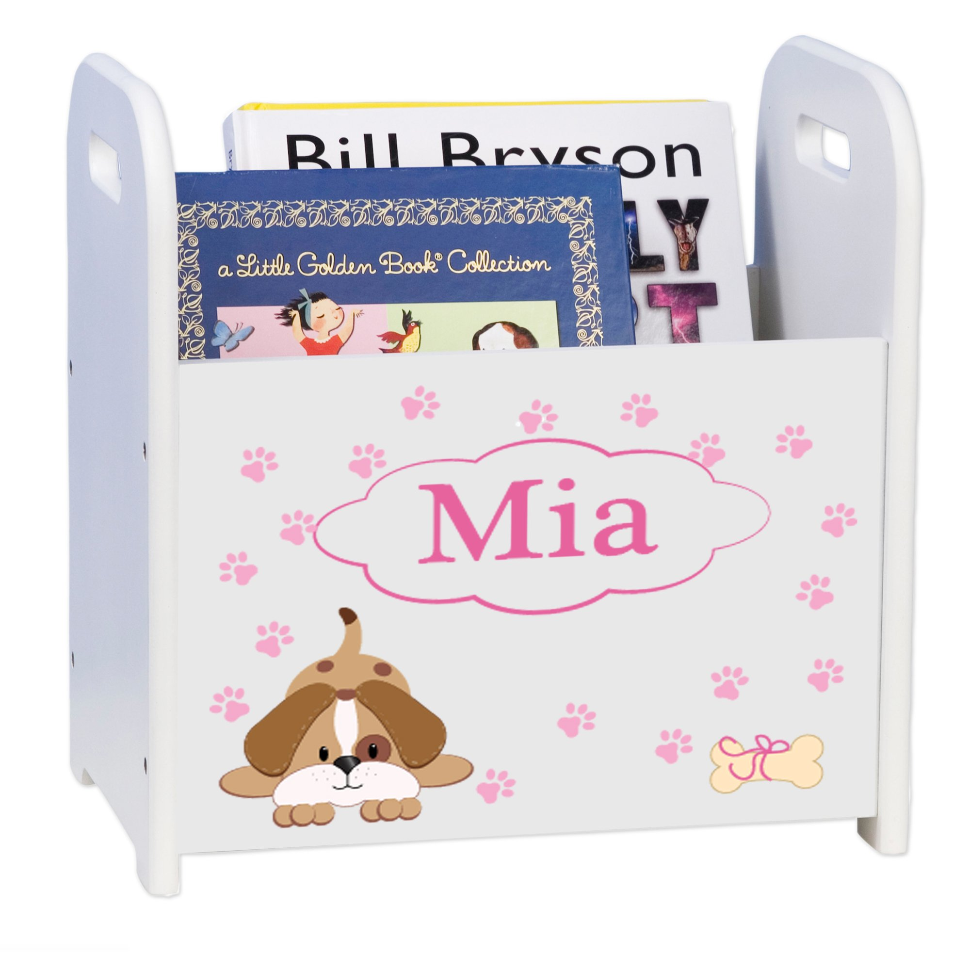 Personalized Pink Puppy White Book Caddy and Rack by MyBambino (Image #1)