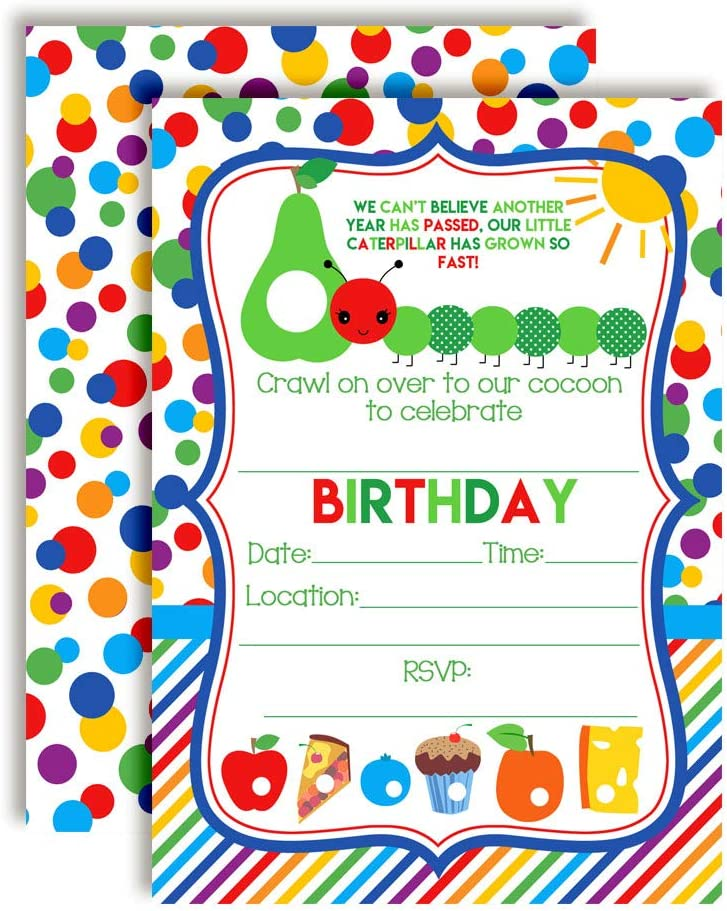 Happy Hungry Caterpillar Themed Birthday Party Invitations, 20 5