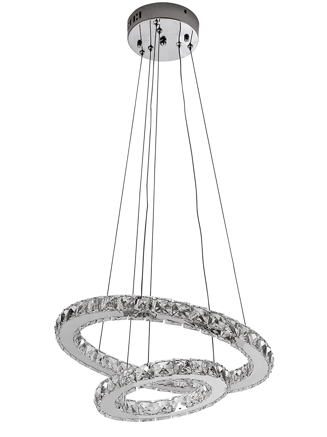 Kusun 36w modern crystal lights led pendant with unique two rings ceiling light fixture chandeliers lamp energy class a