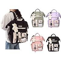 Kawaii nylonowy plecak z przypinką Kawaii i akcesoriami plecak, uroczy estetyczny wodoodporny plecak do szkoły