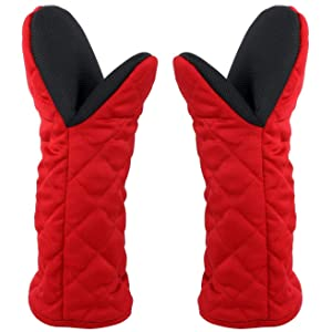 "Puppet Oven Mitts Red Cotton Neoprene Non-Slip Rubber Long Sleeve Arm Soft,Oven Gloves for Women Mum Hot 500℉ Heat Resistant Hand Safe Microwave Home Kitchen Chef Cooking Baking Cookie 13"" 2 Pack"