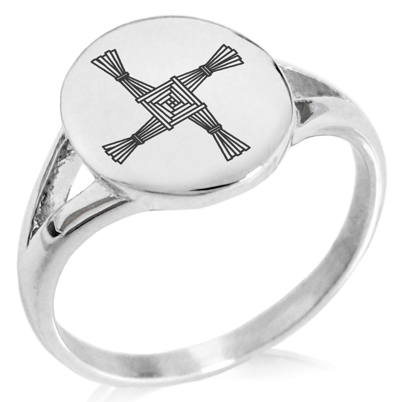Tioneer Stainless Steel Celtic Saint Brigid Cross Symbol Minimalist Oval Top Polished Statement Ring, Size 6