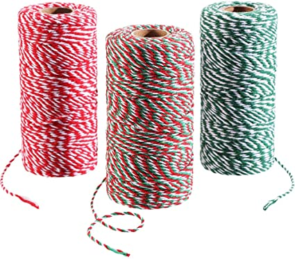 3 rollos de 100 m totalmente de cuerda de algodón de Navidad para ...