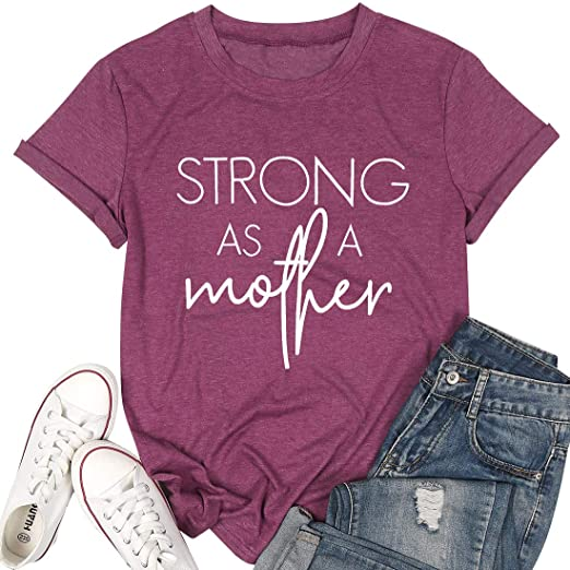Tired as a Mother Letter Print T Shirt Casual Fashion Style Tops