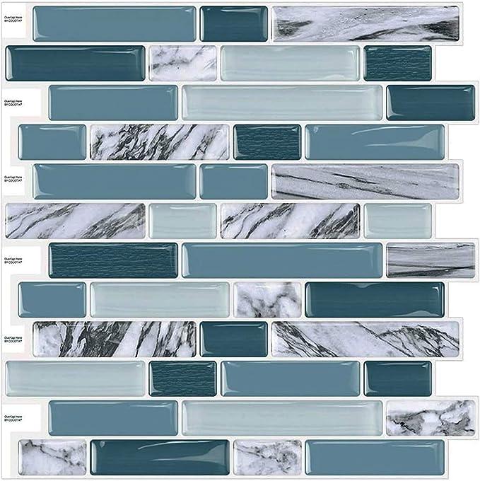 Gwotfy Adhesivos para Azulejos 30 Piezas Adhesivos para Azulejos de Mosaico Autoadhesivo Impermeable Cocina Ba/ño Piso Etiqueta para Azulejos de Pared Etiqueta de Transferencia de Azulejos de Mosaico
