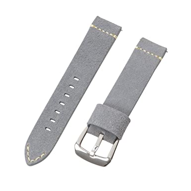 Clockwork Synergy Dapper Collection - Suede Grey Leather Watch Band (18mm) aed7fc0346a