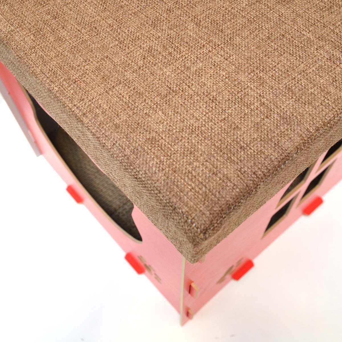 eyepower Cama para Gato 38x38x38cm peque/ño S caja cuadrada para mascota con tapa acolchada para sentarse reposapi/és incl alfombra rascadora Marr/ón