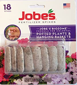 Jobes Biozome Fertilizer Formula for Potted Plants & Hanging Baskets (Pack of 4   18 Spikes Per Pack   72 Total Spikes)