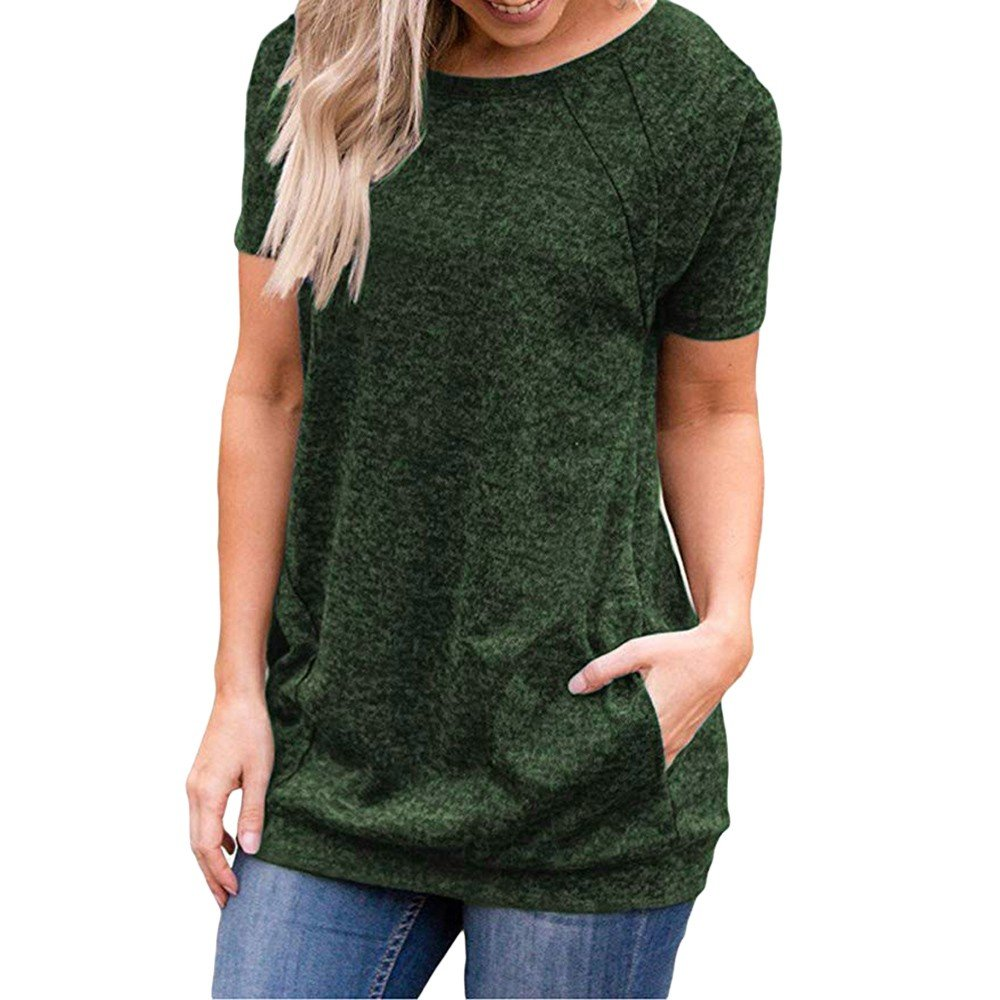 Mysky Fashion Women Summer Classic Pure Color Pockets T-Shirt Blouse Ladies Casual Short Sleeve Tops