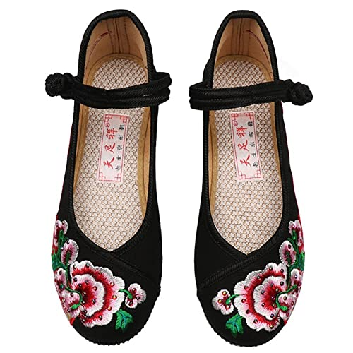 Zapatos de Mujer Tela Primavera Verano Confort Alpargatas Zapatos Bordados Planos tacón Cerrado Flor con Cordones