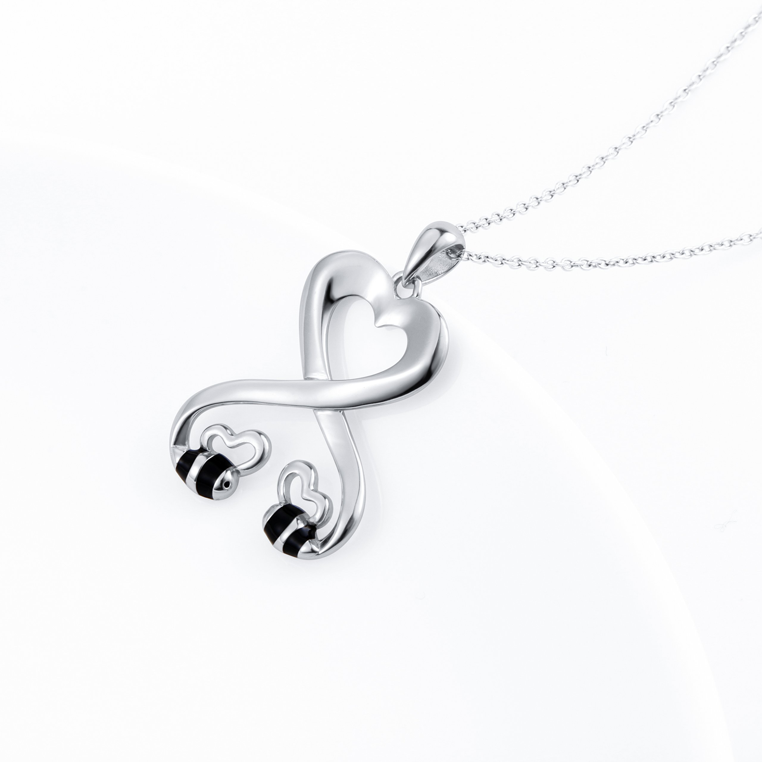 925 Sterling Silver Double Bees Infinity Love Heart Pendant Necklace for Girlfriend, 18'' by SILVER MOUNTAIN (Image #2)