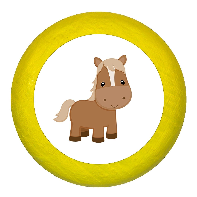 T/ürknaufPferd dunkelblau Holz Kinder Kinderzimmer 1 St/ück Bauernhoftiere Traum Kind