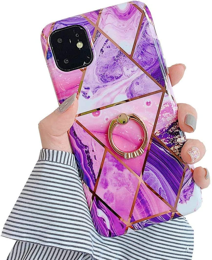 JANDM Compatible iPhone Xs Case Marble Design Clear Bumper Soft Rubber Silicone Cover Glitter Bling Diamond Ring Stand Holder Case for iPhone X/XS-Purple