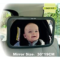 Kids Kits - Back Seat Baby Car Mirror, For Rear View Of Your Infant, With Adjustable Straps and Shatterproof To Be Secured, Tilt Function To 360 Rotation, To See Your Child With A Smile