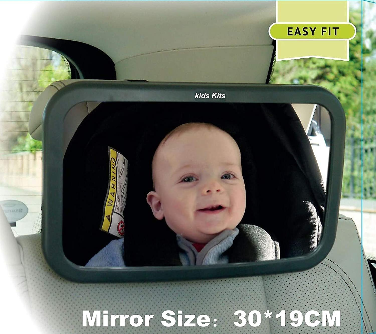 Kids Kits 360/° Rotation Tilt Function Clear View of Infant In Rear Facing Car Seat Baby Backseat Mirror 30x19cm Rear View Car Seat Secure /& 100/% Shatterproof Adjustable Straps