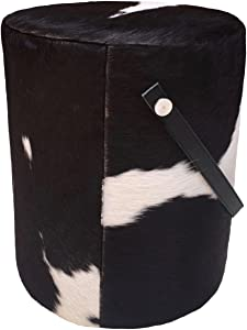 Foreign Affairs Home Décor Round Pouf GRANJA in Black & White Cowhide and Leather Handle